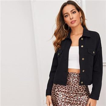 SHEIN Button Front Denim Jacket – Black, S
