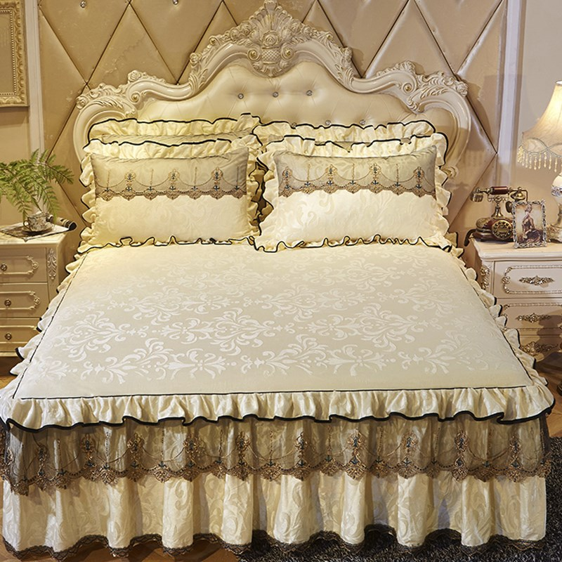 Beige Velvet Warm Bed Skirt Pillowcases 1/3pcs Solid Color Bedding Princess Thick Bedspread Lace Bed Sheet Linen Twin/Queen/king