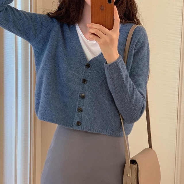 New Women's Sweaters suit Autumn Winter Casual solid V Neck Cardigans sweater Single Breasted Loose Cardigan pencil skirt suits 2