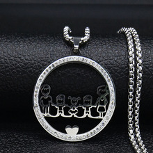 2019 Fashion Family Dad Mum Two Boys Daughter Crystal Stainless Steel Silver Color Necklace Women Jewelry colgante mujer N19435 2019 family stainless steel necklace women jewlery silver color dad mum and son statement necklace jewelry gargantilla n18018