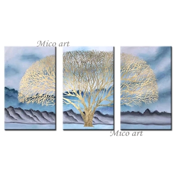 3 Panels Tree Oil Painting 100% Hand Painted Abstract Gold Foil 3PCS Wall Art Canvas Pictures Artwork For Living Room Home Decor