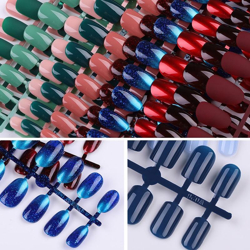 Multi Color 24 Sheet/set New Fake Nail Tips Pure Removable Wearable Fake False Nails European Manicure Decoration Waterproof