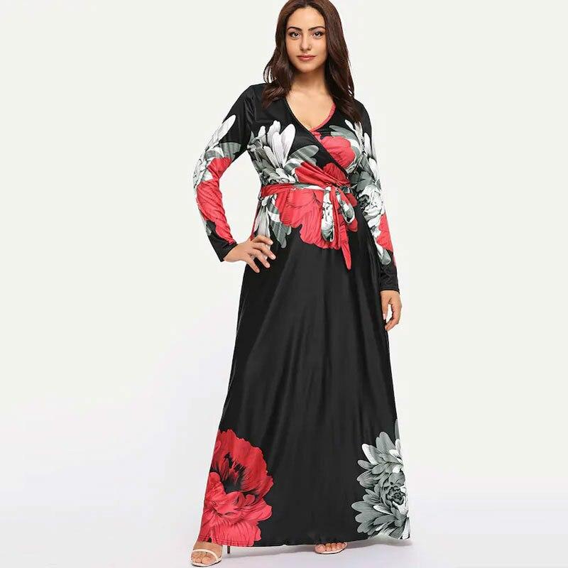 New  Bohemian dress Amazon popular V-neck split long sleeve Print Dress Holiday Beach dresses 9