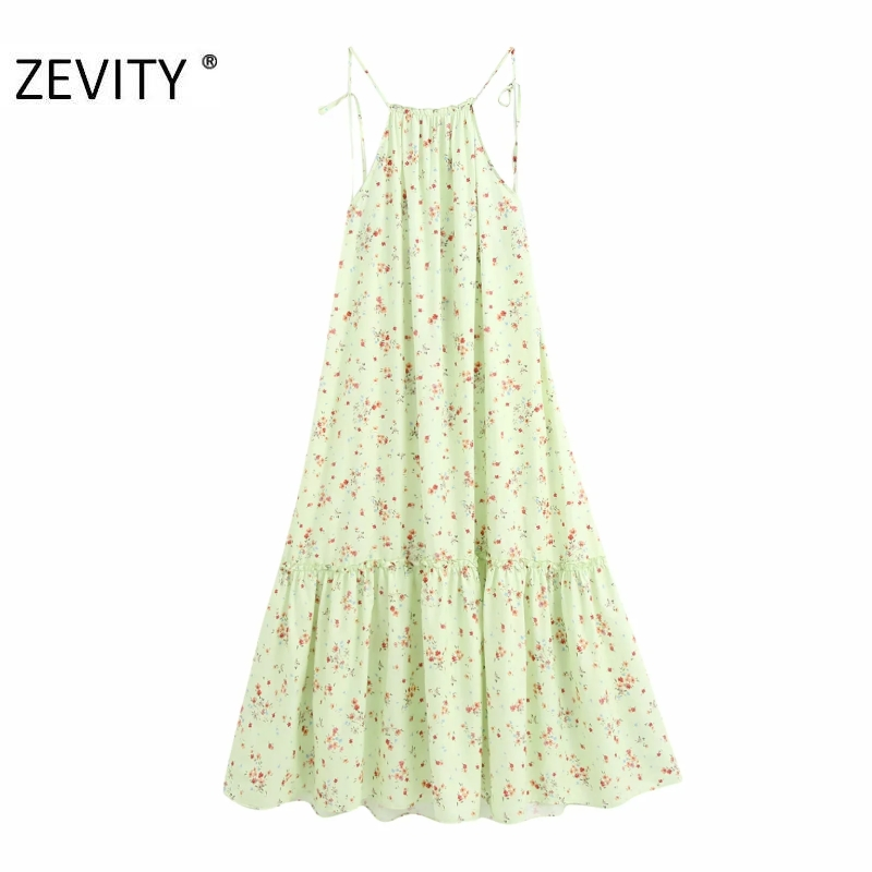 ZEVITY women fashion agaric lace floral print casual loose long halter dress female sexy backless vestidos chic dresses DS4252