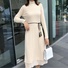 Fashion Sweater Dress Women Sweaters Dresses Stretch Knitted Winter Korean Lace Turtleneck Pleated