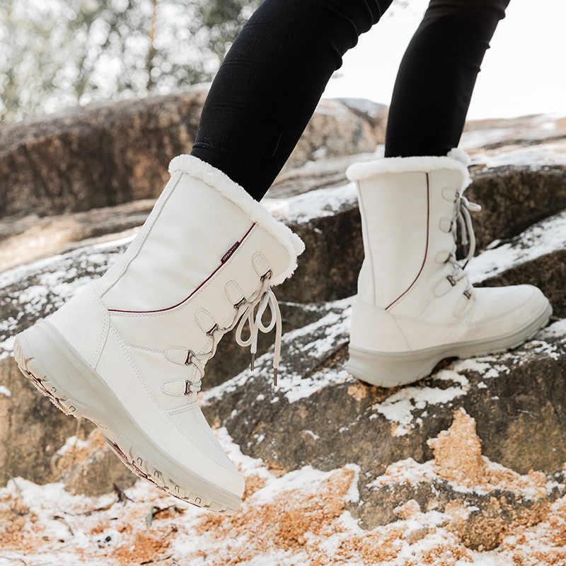 PINSEN yeni kadın kış çizme daireler topuklu sıcak peluş su geçirmez kar çizmeler kadın ayakkabıları yüksek kaliteli kadın orta buzağı botas mujer