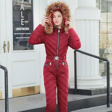 Женский лыжный костюм, Повседневная теплая сиамская хлопковая стеганая куртка с капюшоном, пальто на молнии, сноуборд, цельный комбинезон, зимний спортивный костюм