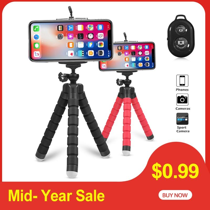 Tripod Clip-Stand Phone-Holder Camera Remote-Shutter Mini Bluetooth Flexible Universal
