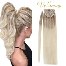 VeSunny Ponytail Extensions Wrap Around Magic Tape with Comb 100% Real Human Hair Balayage