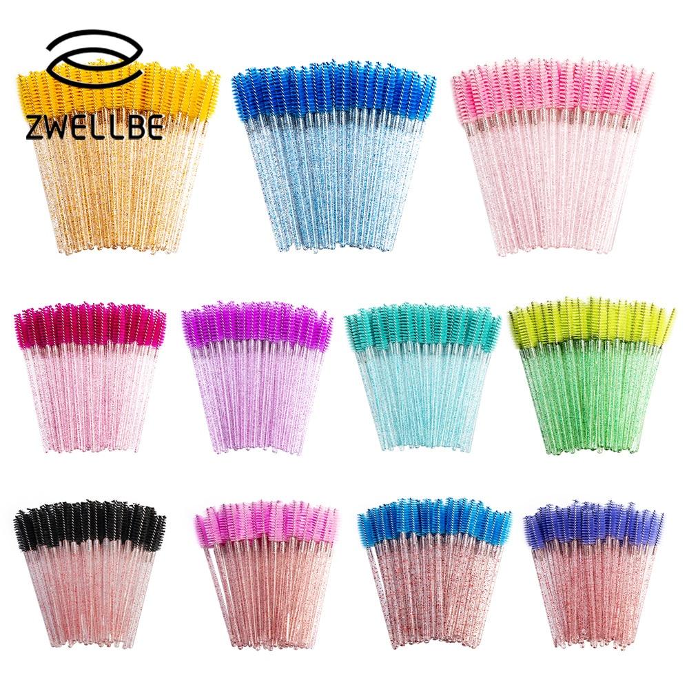zwellbe Good Quality Disposable 50 Pcs/Pack Crystal Eyelash Makeup Brush  Diamond Handle Mascara Wands Eyelash Extension Tool 1
