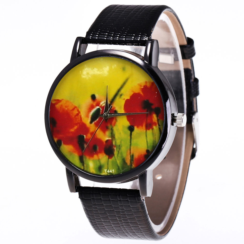 Alloy Frame Watches Printed Watches Quartz Watch Smooth Leather Strap Fashion Watches For Women Men Teens Couple LL@17