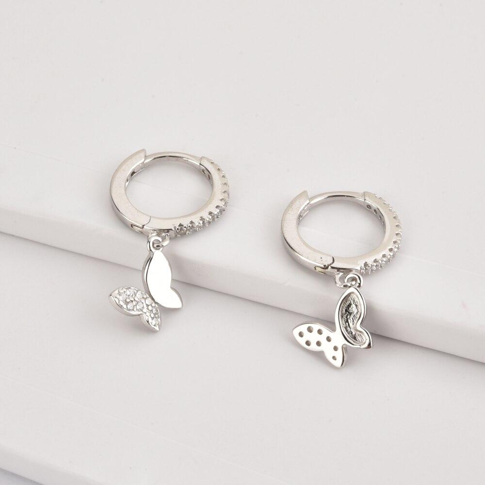 ANDYWEN 925 Sterling Silver 8.5mm Butterfly Zircon CZ Pendant Charm Dangle Drop Earring For 2020 Rock Punk Fashion Jewelry
