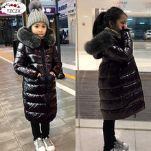 купить Winter Children down jackets Classic long fur collar keep warm girls down coats For 2-12 Years wear kids down & parkas clothing дешево