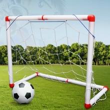 цена 1Pcs Mini Football Soccer Goal Post Net Set Children Football Sport Toy with Ball Pump Net Red Joints Indoor Outdoor онлайн в 2017 году
