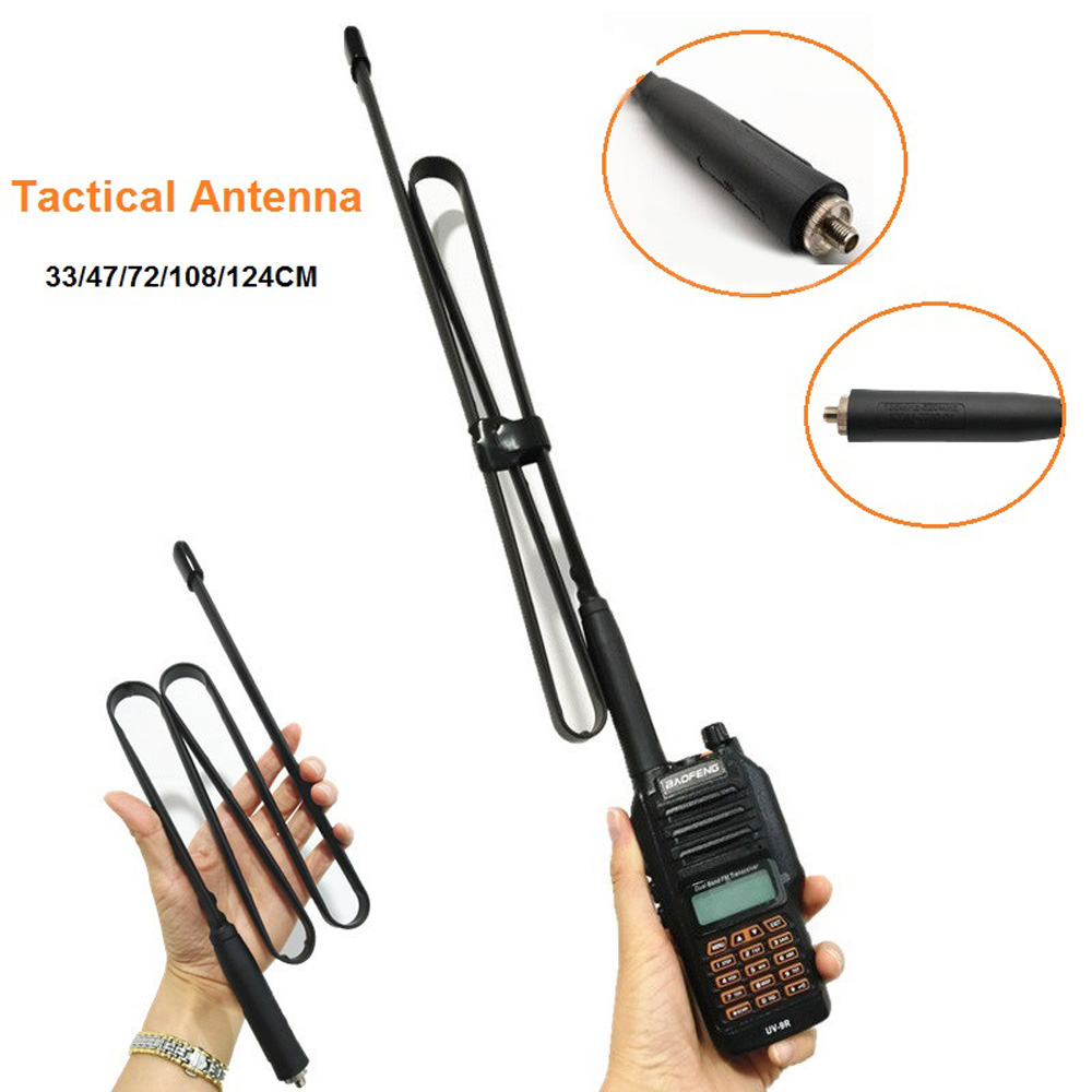 2020 New CS Tactical Antenna SMA-Female Foldable E Dual Band VHF/UHF For Baofeng UV-9R Walkie Talki  33/47/72/108/124CM