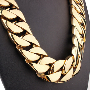 Image 5 - 31MM Wide Shiny Cuba Big Necklace Men Hip Hop Stainless Steel Jewelry Hand polished Casting Bracelet Hiphop Tide Jewelry