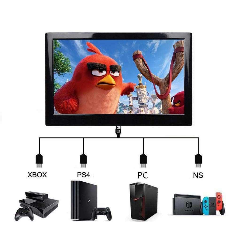 "Monitor de PC HDMI, ordenador LCD, AV VGA, HDMI, altavoz USB, Monitor portátil de 10,1 "", pantalla para PS4, PC, ordenador de coche, pantalla portátil"