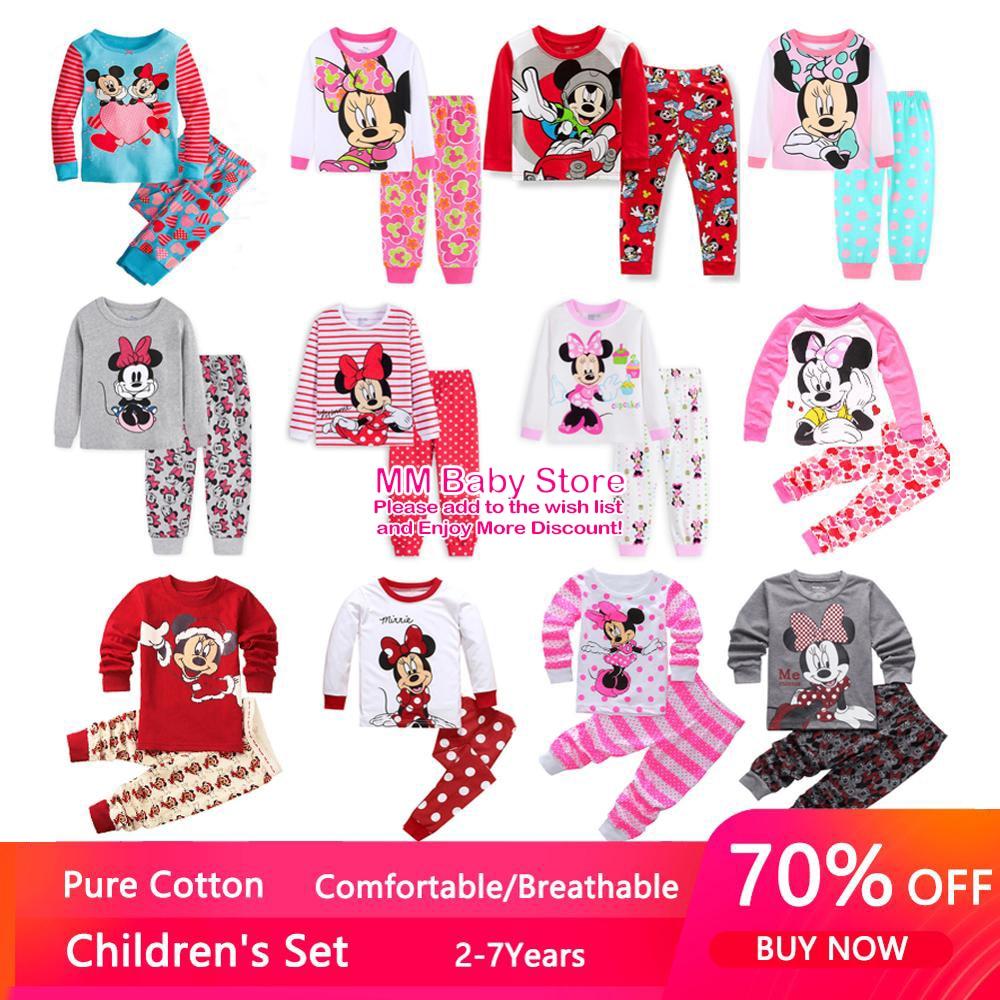 Осенние комплекты одежды для детей, одежда для сна, комплект детской пижамы с Микки Маусом, пижама с Минни для маленьких девочек