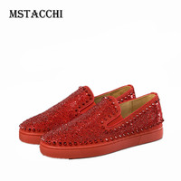 MStacchi cool Men's Casual Flat Shoes With Round Toe Thick Soles Equipped Rhinestones And Rivet men vulcanize shoes Nine Colors