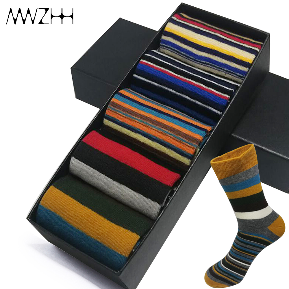 5 Pairs High Quality Casual Mens Cotton Socks Japan And South Korea New Fashion Harajuku Style Colorful Stripe Socks Happy Nobox