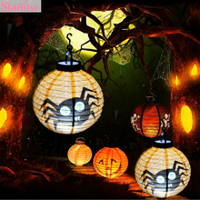 Staraise Paper Pumpkin Lantern Halloween Decoration LED Haloween for Home DIY Hanging Lamp Supplies