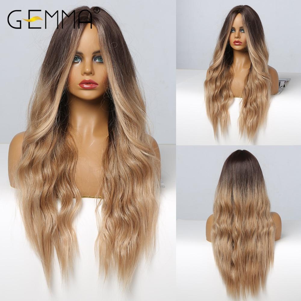 Gemma ombre preto marrom longo ondulado perucas para preto feminino meio parte perucas sintéticas diário festa cosplay resistente ao calor do cabelo falso