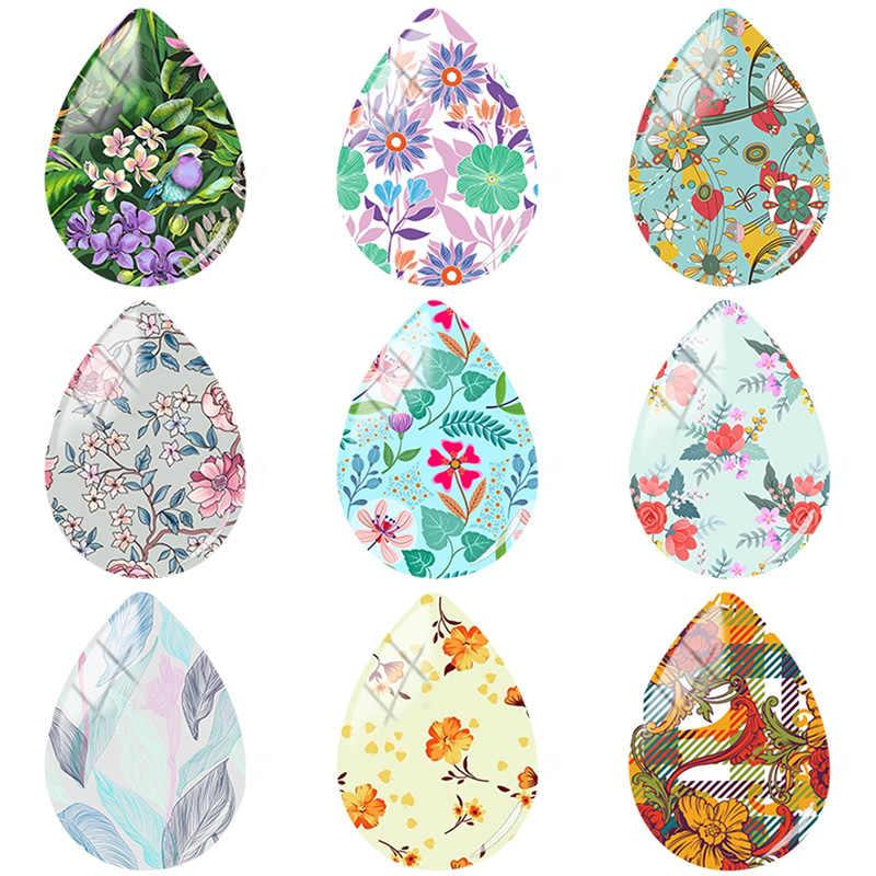 TAFREE belleza colorida pintura flor 18x25mm hecho a mano lágrima forma de gota de vidrio estilo de gota cabujones accesorios de joyería FL235
