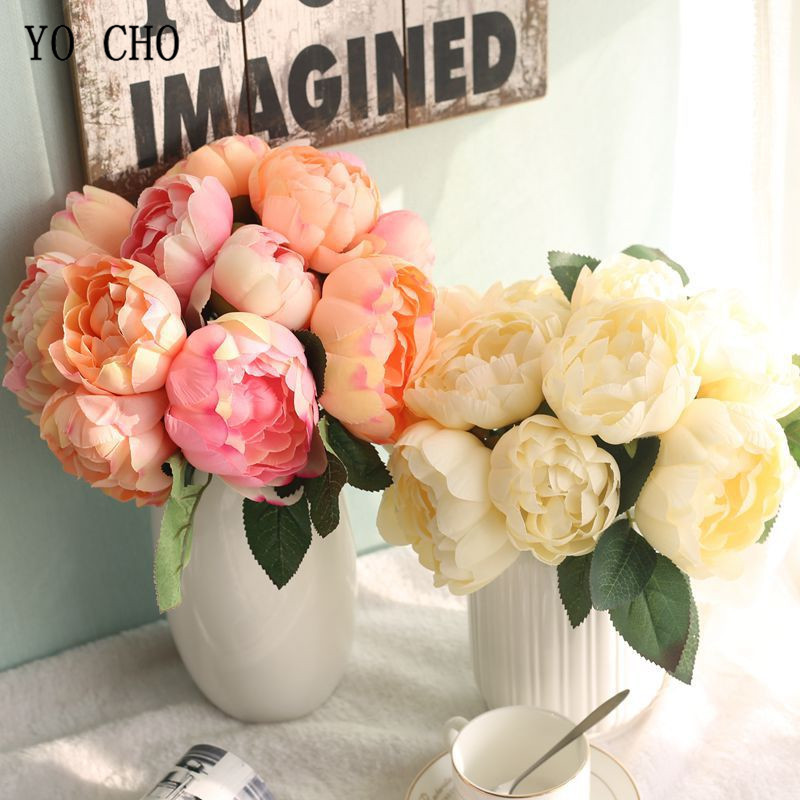YO CHO White Pink Roses Artificial Flowers Bouquet 6 Heads Fake Roses Silk Flower For Wedding Centerpiece Home Decoration Flower