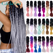 Hair-Extensions Braiding-Hair Pink Blonde Long Synthetic African Blue Ombre Grey