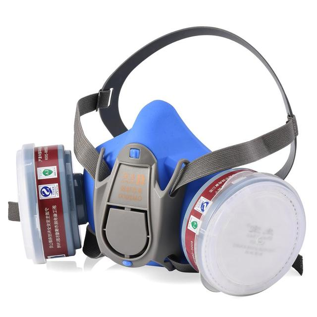Safeyear Anti Fog Safety Glasses & Half Face Gas Mask Respirator- GM500 Anti Pollution Dust Respirator Mask N95 FFP3 4