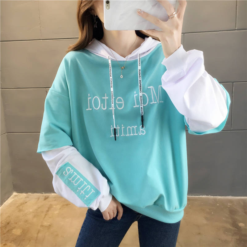 Sweatshirt Female Korean Loose Lazy Student Long-sleeved Shirt Spring And Autumn Thin Section Fake Two-piece Hooded Jacket