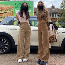 Europa e os estados unidos novo retro super leve núcleo calças de veludo, calças de perna larga marrom, estilo rua confortável jeans