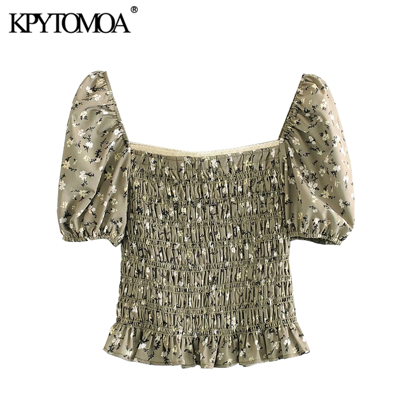 KPYTOMOA Women 2020 Sweet Fashion Floral Print Cropped Blouses Vintage Puff Sleeve Smocked Elastic Female Shirts Blusa Chic Tops