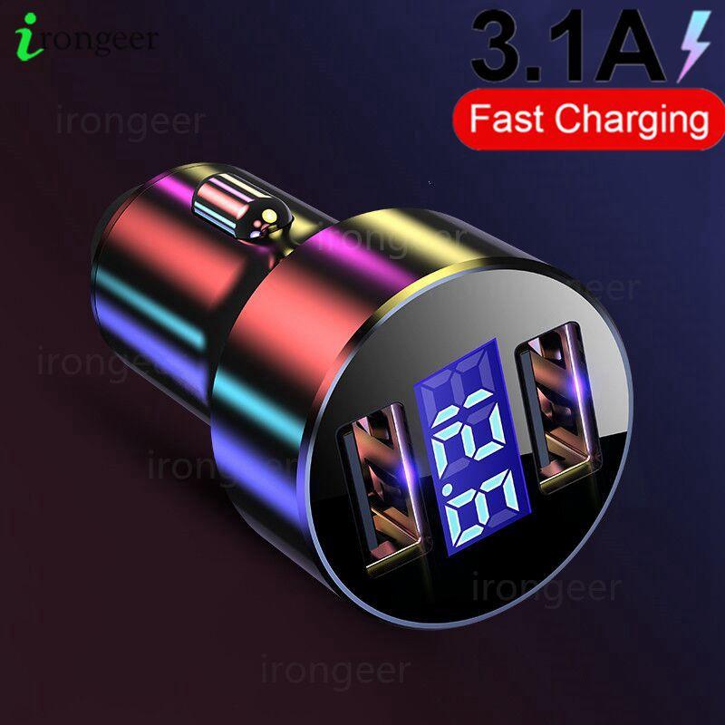 Carregador de celular usb com display led 3.1a, carregador para xiaomi, samsung, iphone 11, pro, 7, 8, plus adaptador de carregador de carro para celular