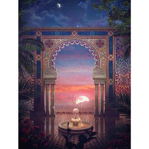 Photography Backdrops Patio-Flower Vinyl Arch Column Cloth Arabian Fountain Leaves Computer-Print-Wall