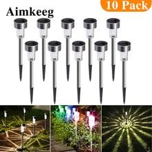 Aimkeeg, 10 шт., водонепроницаемые светодиодные фсветильник Ри из нержавеющей стали на солнечной батарее
