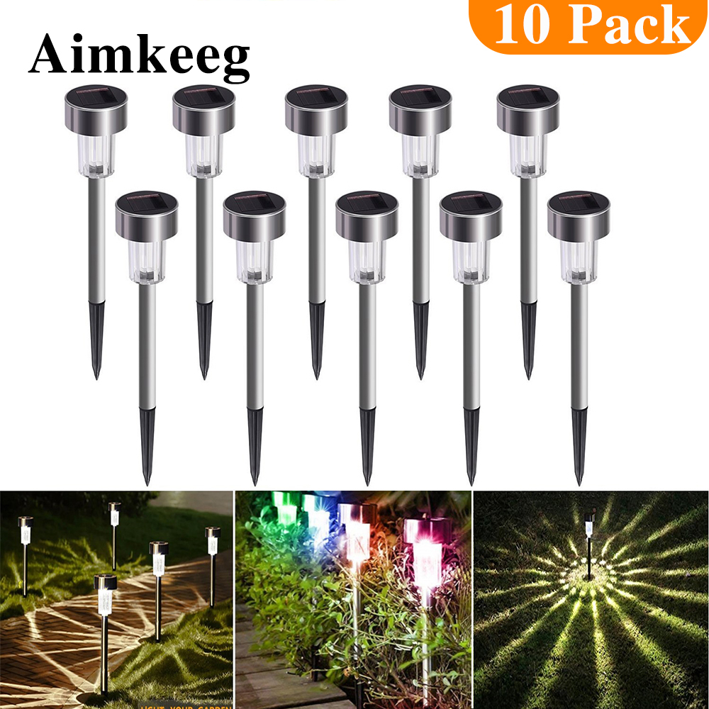 Aimkeeg 10pcs Stainless Steel Waterproof LED Solar Lawn Lights Outdoor Solar Lamp Garden Decorative Solar Light Yard Lamps