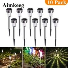 Luzes solares à prova dágua aimkeeg, lâmpadas led de aço inoxidável com 10 peças, para gramado e jardim ao ar livre, lâmpadas para quintal