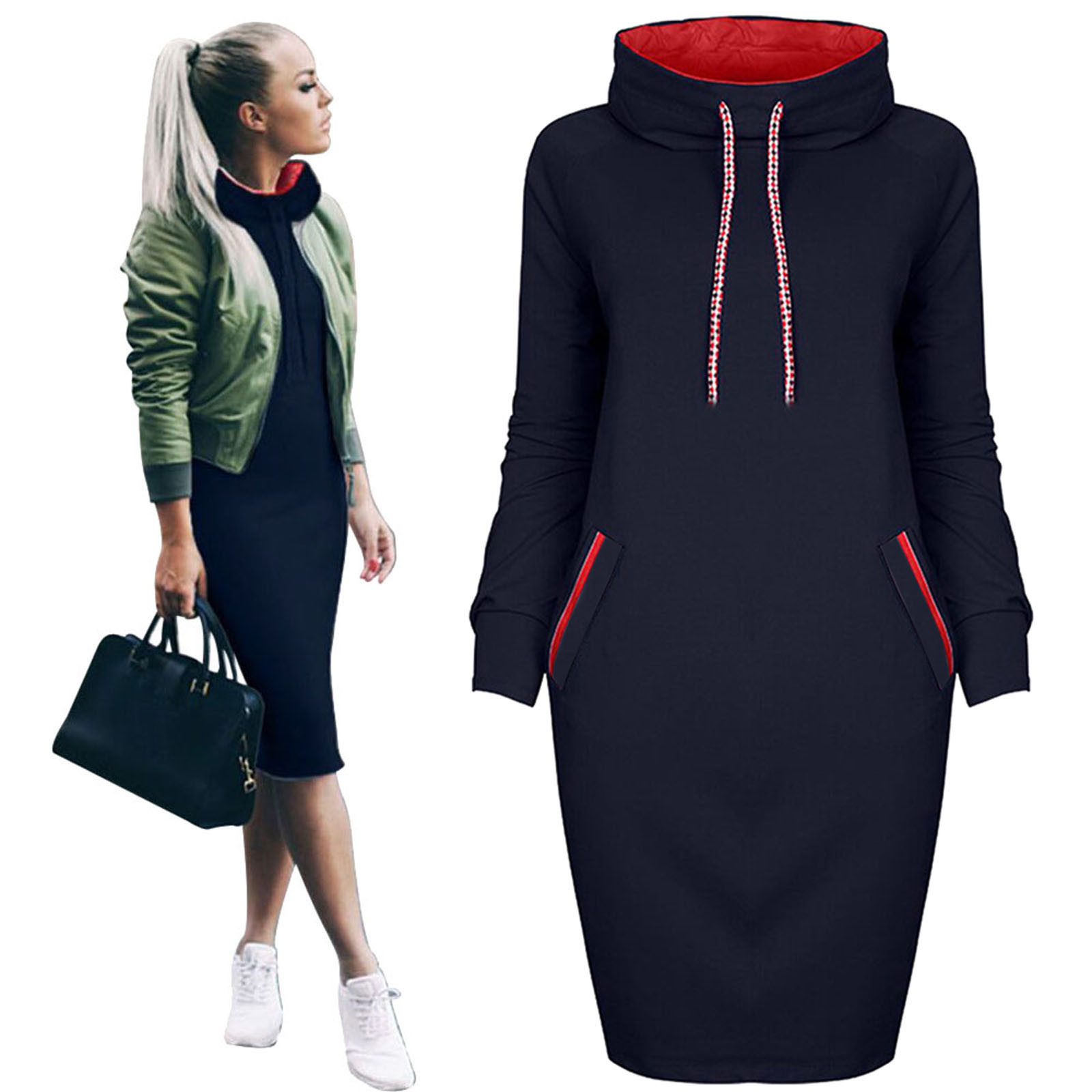 Women Autumn Warm Hooded Dress Casual Winter Shirt Dress Ladies Long Sleeve Fit Slim Sweatshirt