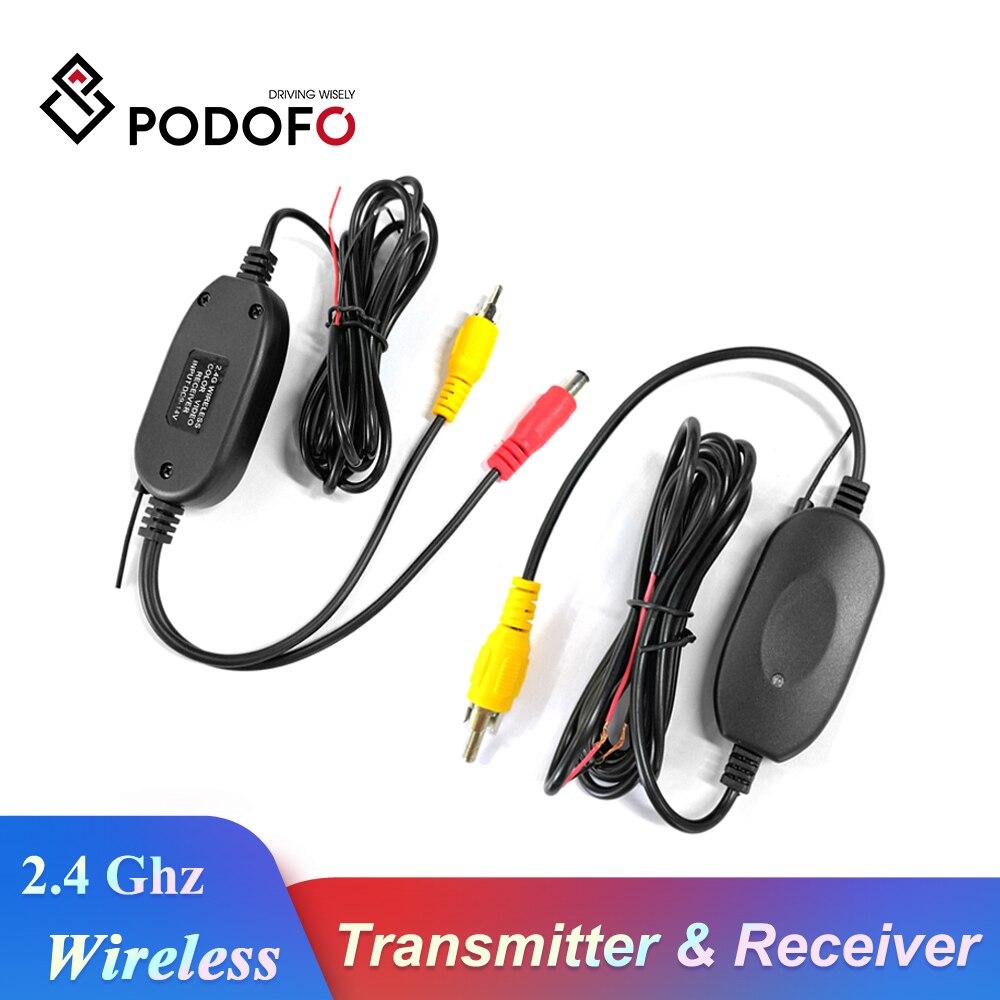 Podofo 2.4 Ghz caméra de vue arrière sans fil RCA transmetteur vidéo et récepteur Kit pour voiture rétroviseur moniteur FM émetteur et récepteur