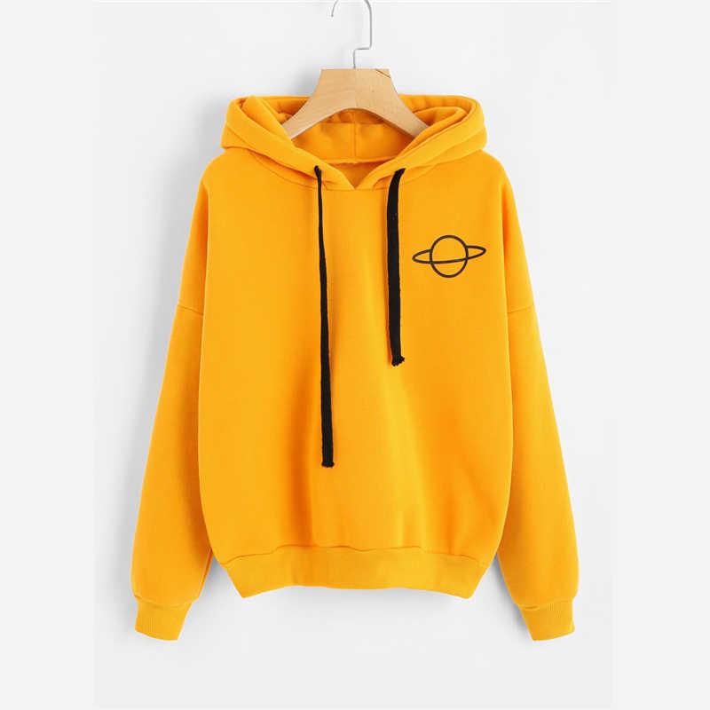 Mjartoria women sweatshirt hoodies 캐주얼 플래닛 프린트 솔리드 루스 드로우 스트링 스웨터 패션 긴 소매 후드 티드 탑스