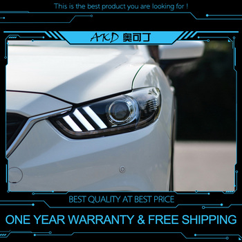 AKD tuning cars Headlight For Mazda 6 Atenza 2013-2016 Headlights LED DRL Running lights Bi-Xenon Beam Fog lights angel eyes