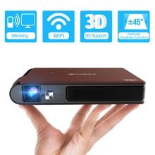 جهاز عرض صغير محمول ثلاثي الأبعاد يعمل بالواي فاي S6W مزود بجيب ذكي يعمل بالواي فاي مع بطارية بقدرة 8400 مللي أمبير في الساعة يدعم HD 1080P Miracast proyector para moville