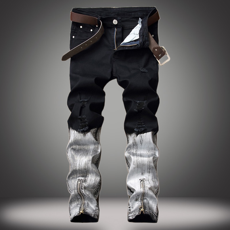Men Fashion Denim Pleated Jeans Retro Pants Mens Straight Trousers Slim Casual Jean Skinny