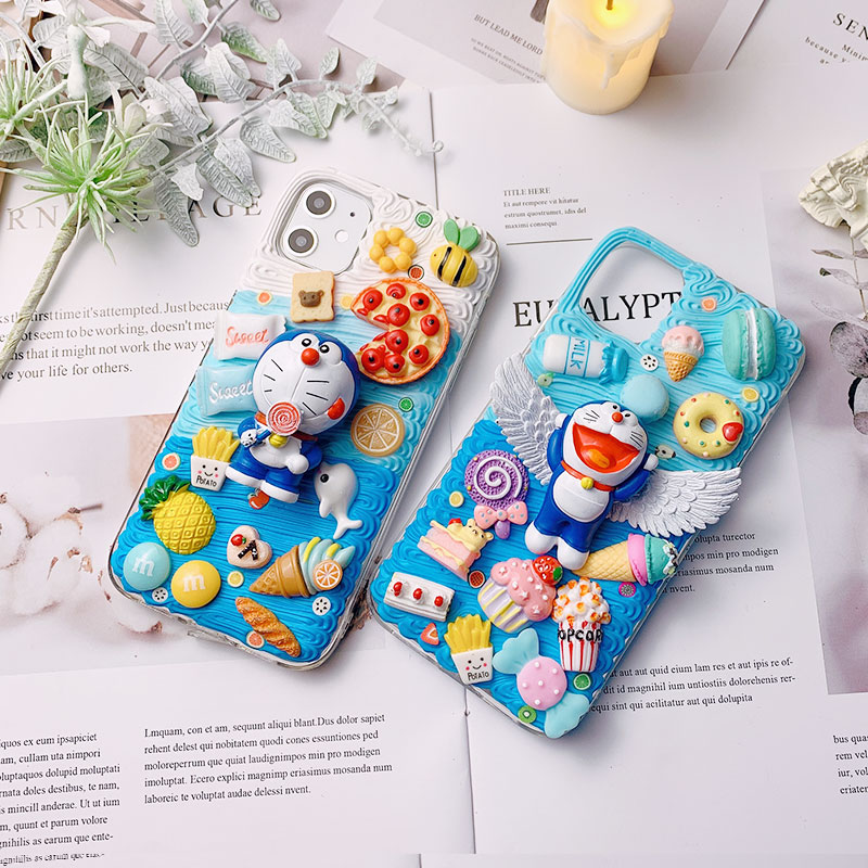 DIY <font><b>case</b></font> for <font><b>iPhone</b></font> 11 pro max 3D Doro <font><b>Cat</b></font> phone cover for <font><b>iphone</b></font> X/XS MAX/XR handmade creamy shell ip <font><b>8</b></font>/7 plus 6/6s+ girl gifts image