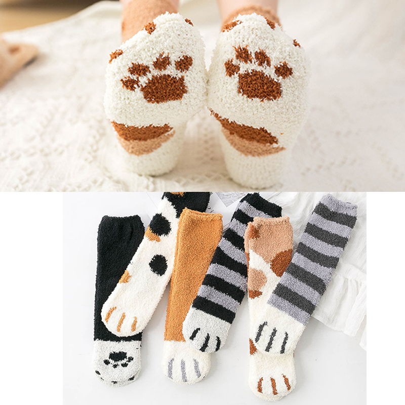 Fuzzy Fluffy Terry Warm Socks Animal Claws Coral Velvet Socks Winter Kawaii Thick Socks Striped Cartoon Women Short Cute Socks