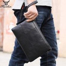 Flanker brand genuine leather men clutches vintage envelope clutch bag with card holder patchwork design handbag for 9.7 Ipad