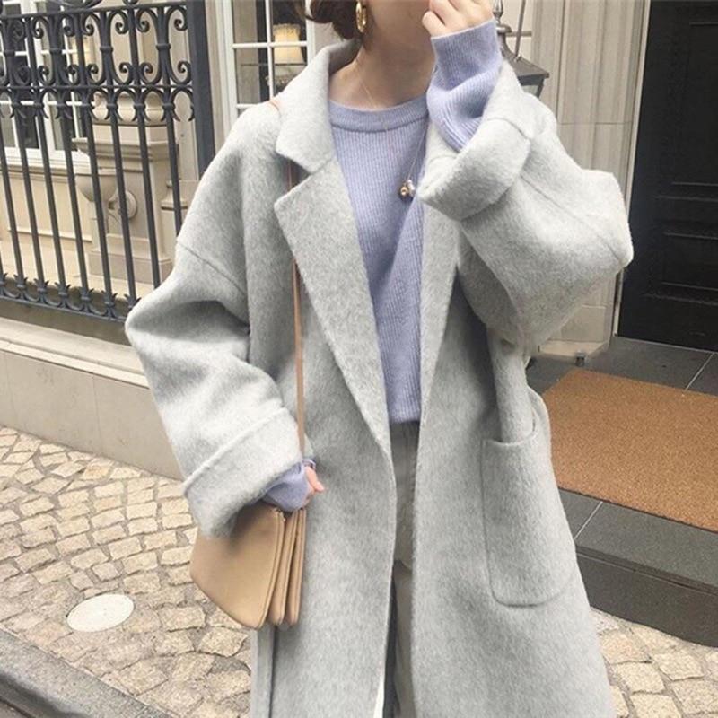 Classic Atmospheric Turn-lapel Tie Bathrobe-style Loose Wool Overcoat with Retro Temperament 2019 Long Coat Women
