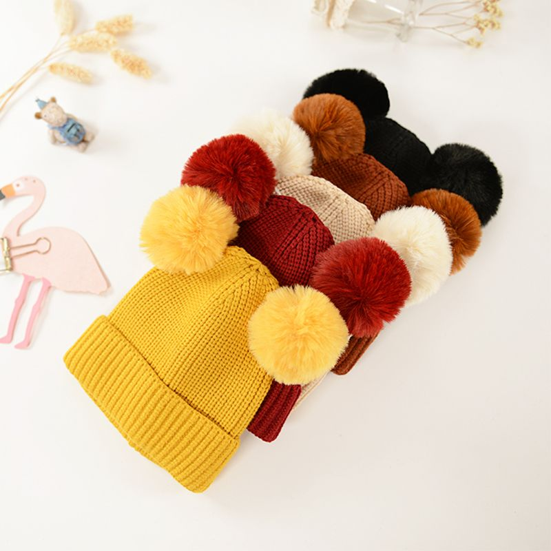 2019 Winter Children Scarf Hat Set Knitted Solid Color With 2 Balls Kids Autumn Winter Shawl