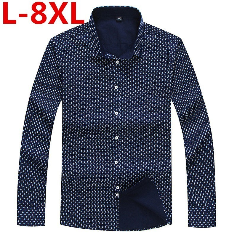 8XL 7XL 6XL 5XL Spring  Men Casual Shirts Long Sleeve Brand Printed Button-Up Formal Business Polka Dot Floral Men Dress Shirt